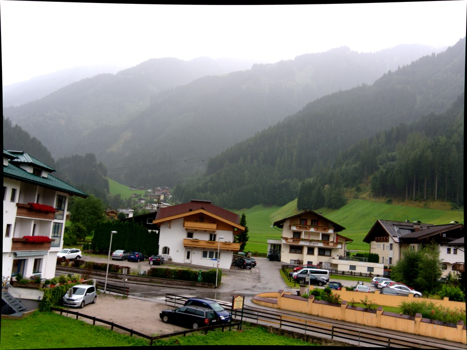 A wet start to the day. A good wet weather walk is to take the bus to Hintertux and walk back down the valley to Mayrhofen