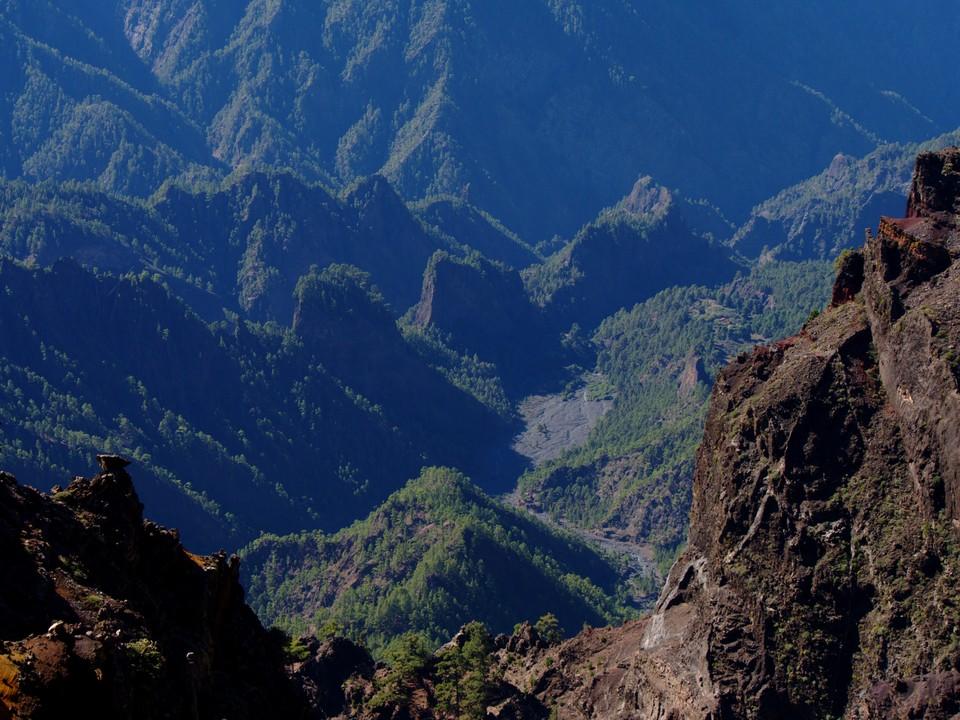 looking down into the caldera