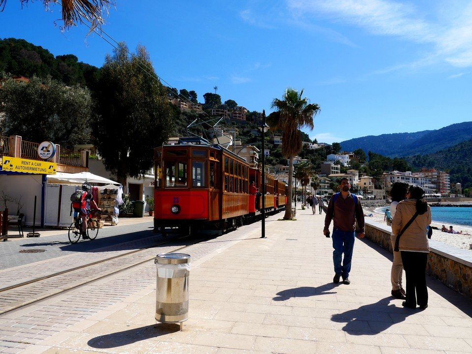 The local tram service runs from the Port de Soller to the inland town of Soller - where it meets the train.