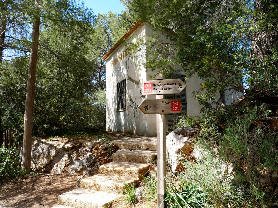 The path runs inland through the small village of Bens d'Avall, and meets a branch of the GR 221 We turned right, heading south and inland to join the main GR 221 path at San Mico, where we turned left, heading east.