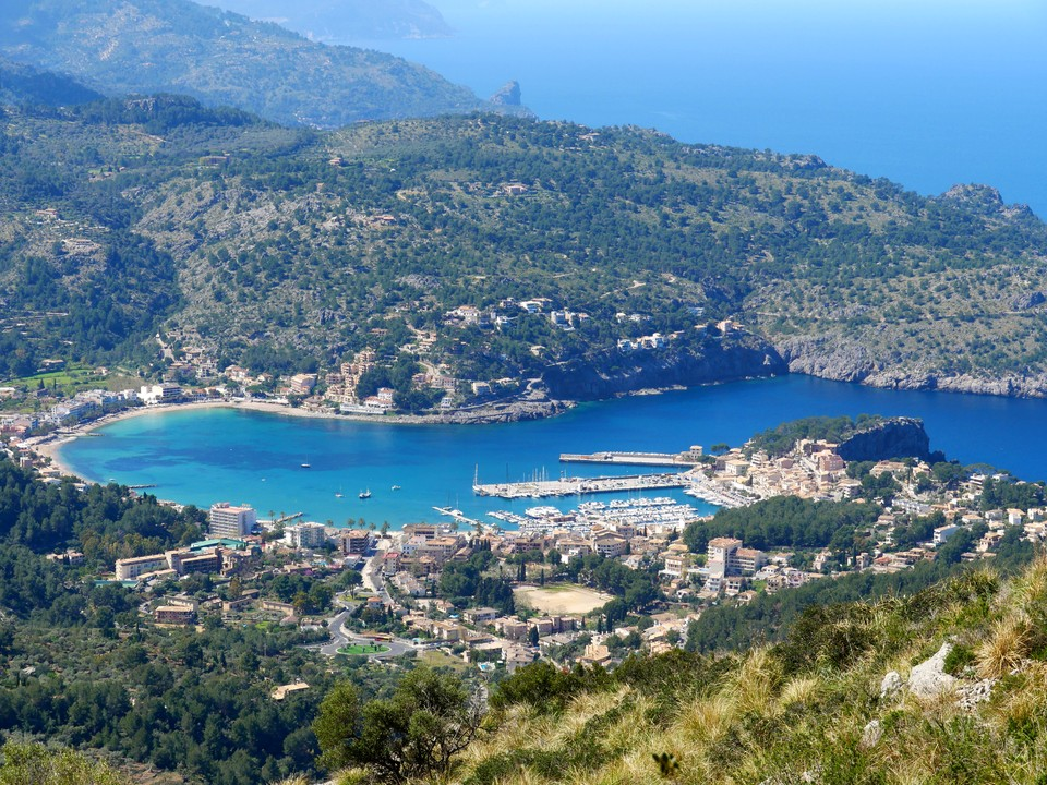 An excellent view of the harbour at Port Soller