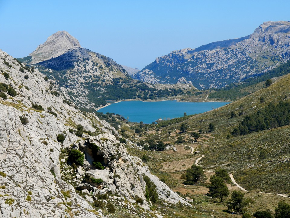 The view from Puig des Verger looking north east at Embassament de Cuber. Not on our path today