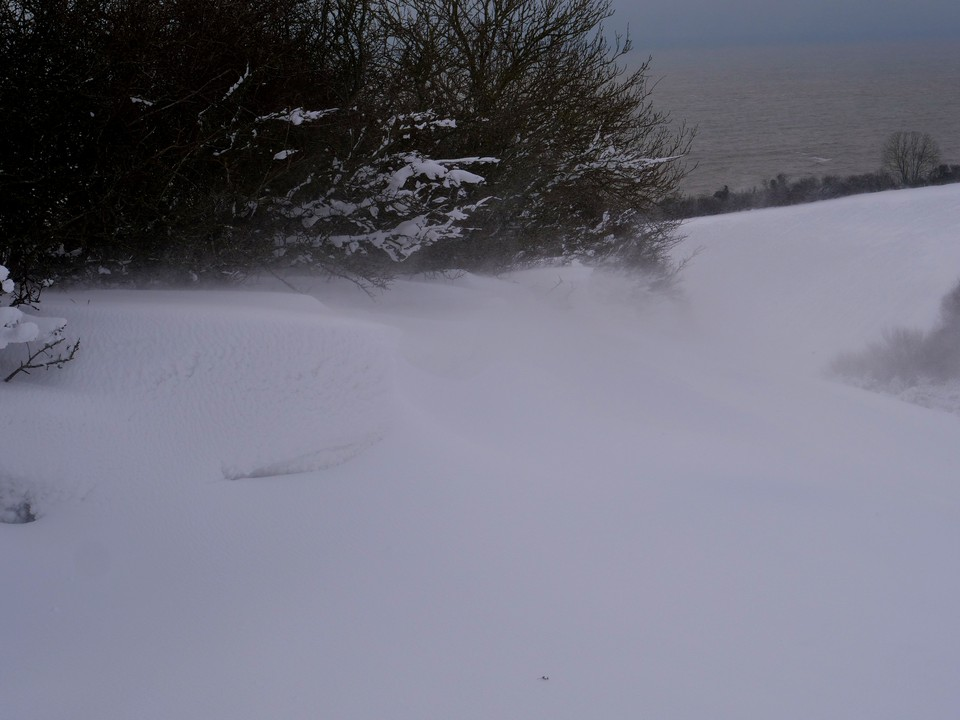 Deep drifts forming in the shelter of the hedgerows