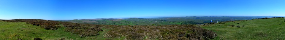 Panorama, view from the top of Black Hill. One of the best Dartmoor viewpoints. Click on the image to see the larger view with points in the view identified.