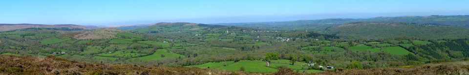 Panorama, from the top of Black Hill towards Manaton and Lustleigh