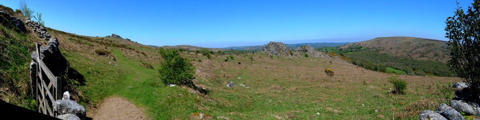 Dartmoor Panorama from Holwell Lawn: Hound Tor, Greator Rocks and Black Hill.