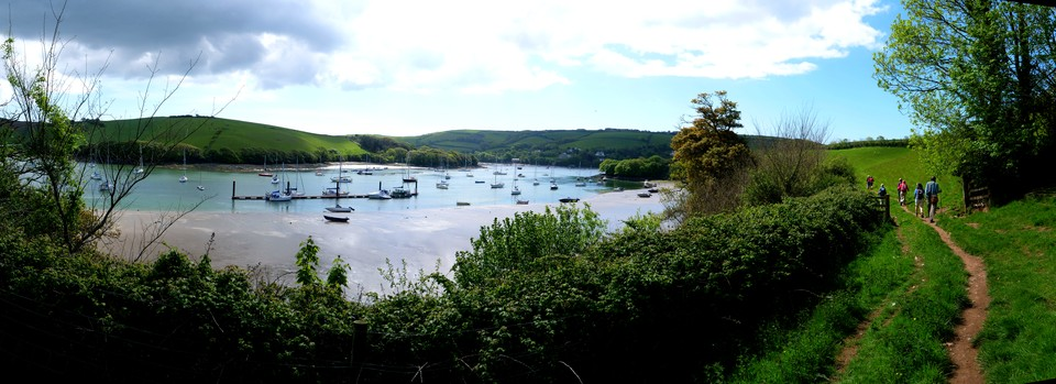 Panoramic view of the Kingsbridge Estuary as we head towards Snapes Point
