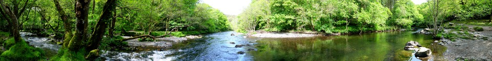 Panorama of Double Waters - where the River Tavy is joined by the River Walkham