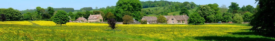 Dorset Panorama: Mapperton House from the Jubilee Trail, the main house is hidden from view by its wings