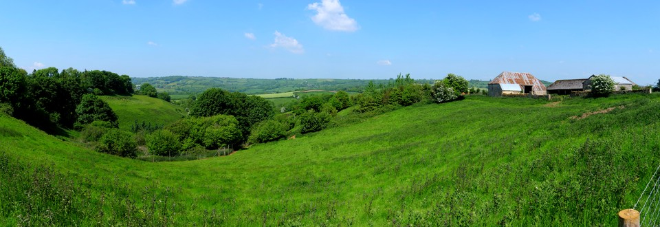 Dorset Panorama. Ancient farmstead at Gold Hill