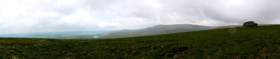 Panorama of view from Corn Ridge, Dartmoor, Meldon Reservoir, Yes Tor and Hight Willhays. The rock to the right is Branscombe's Loaf.