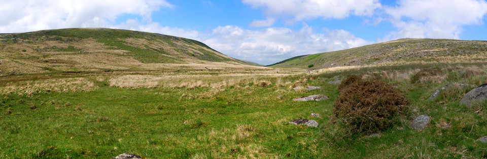 Dartmoor Panorama. Looking down the West Oakment valley from Sandy Ford