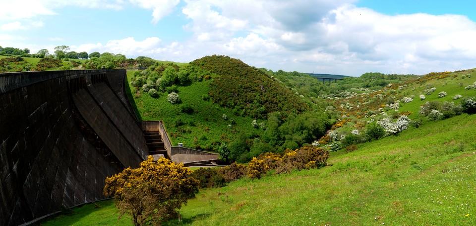 Dartmoor Panorama: Meldon Dam and the meldon viaduct