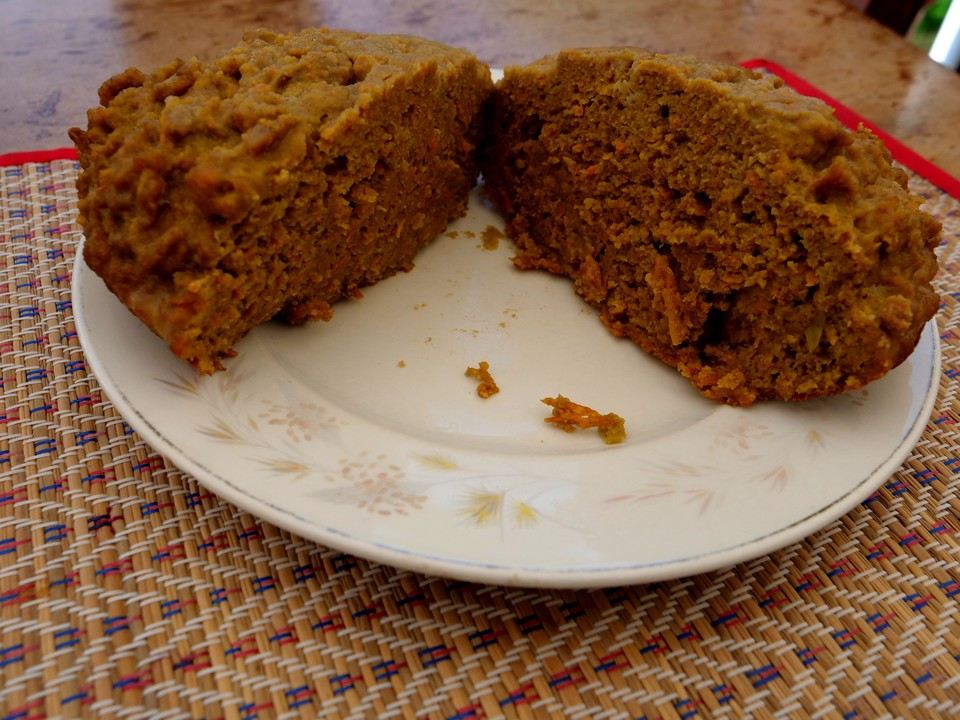 Gluten free beef pudding, cut in half. It has risen well and has quite a light structure.