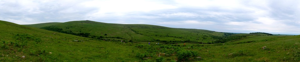 Dartmoor Panorama: Looking over the Erme valley towards Three Barrows and Ugborough Moor. Piles Copse is to the left.