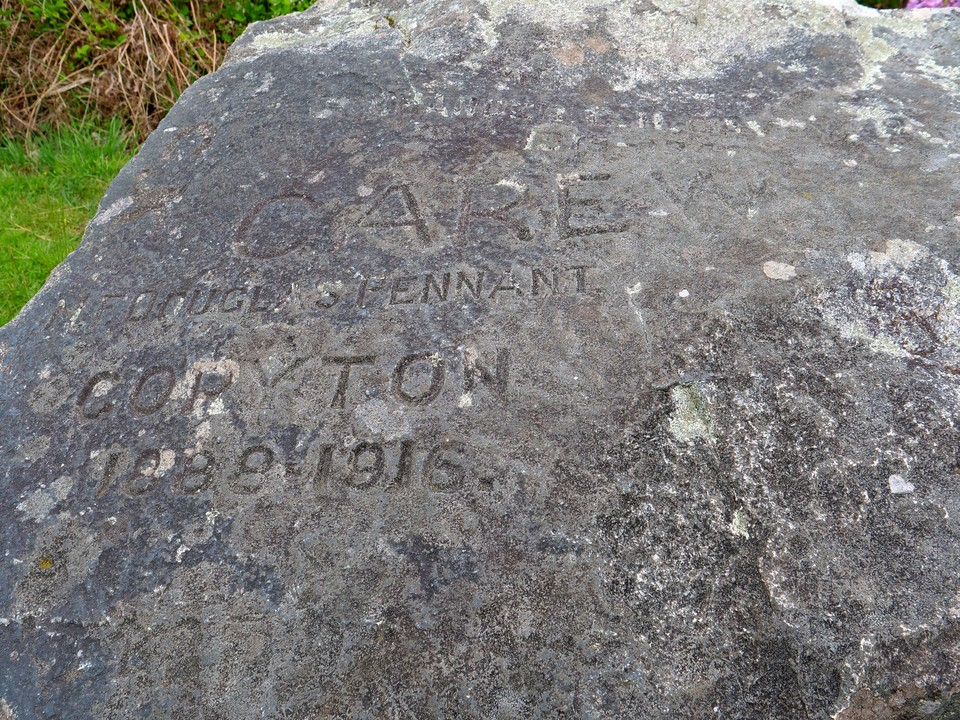The Hunters stone, engraved with names