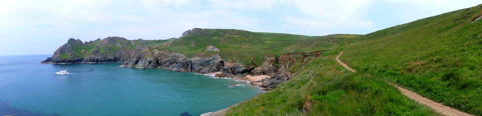 Panorama South west coast path: Gammon Head and Elender Cove