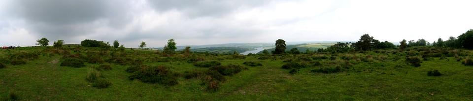 Panorama: Wimbleball Lake from the car park at Haddon Hill.