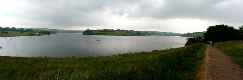 Panorama of Wimbleball Lake Reservoir.