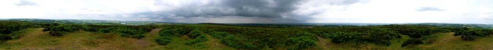 Panorama of the view from the top of Haddon Hill - Hadborough at the end of the walk when the view had imporved slightly