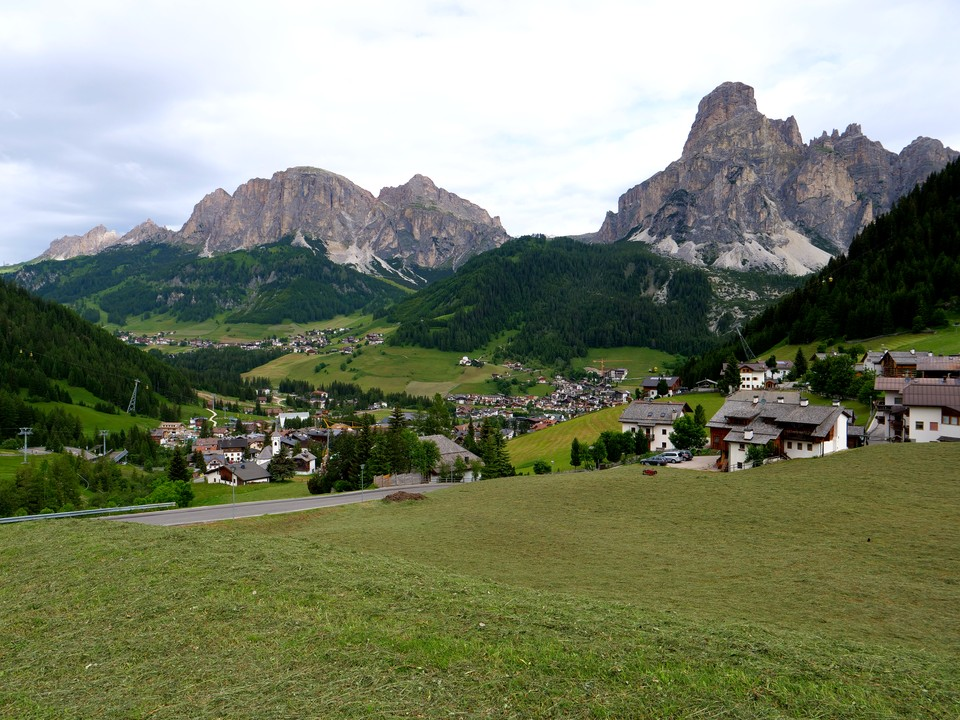 Walking from Corvara up to the Pralongia chair lift