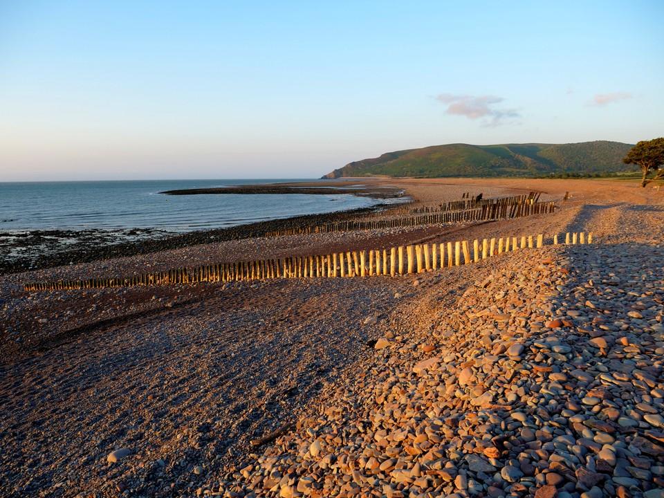 The shingle beach at West Porlock in the evening sunshine