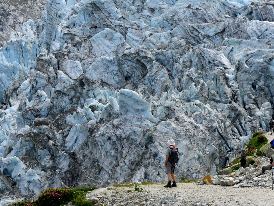 The glacier flows quite rapidly over the ice fall and you can hear it groaning and breaking