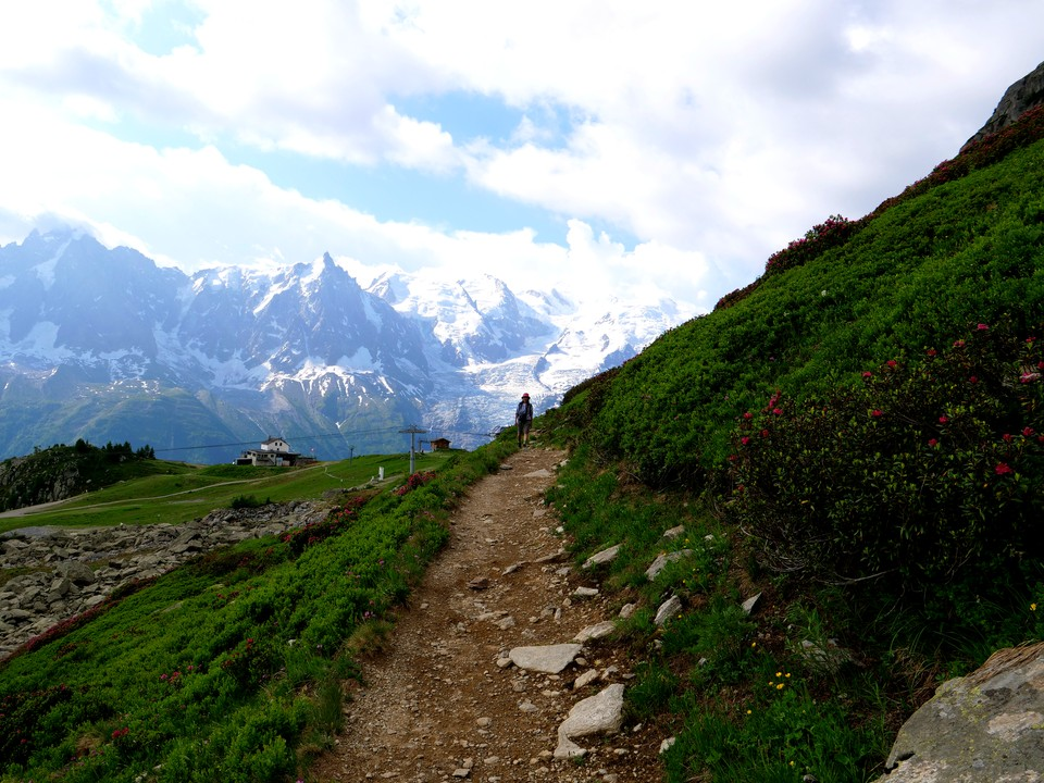 Mont Blanc provides a stunning backdrop to this path