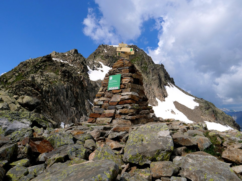 The cairn marks the coll.