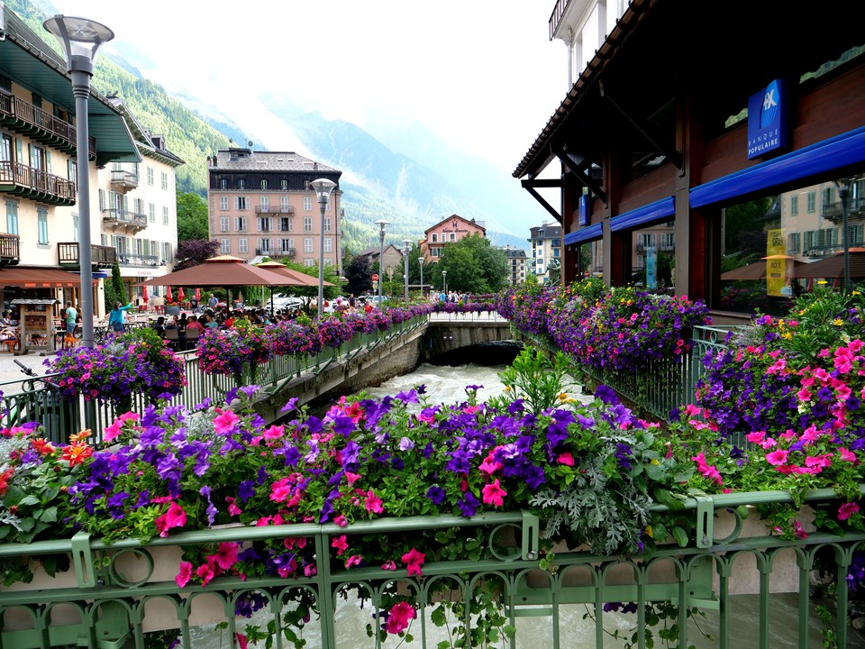 Flowers decorate Chamonix town centre