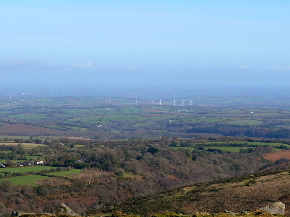 Looking north from Belstone Tor to North Devon and wind farm