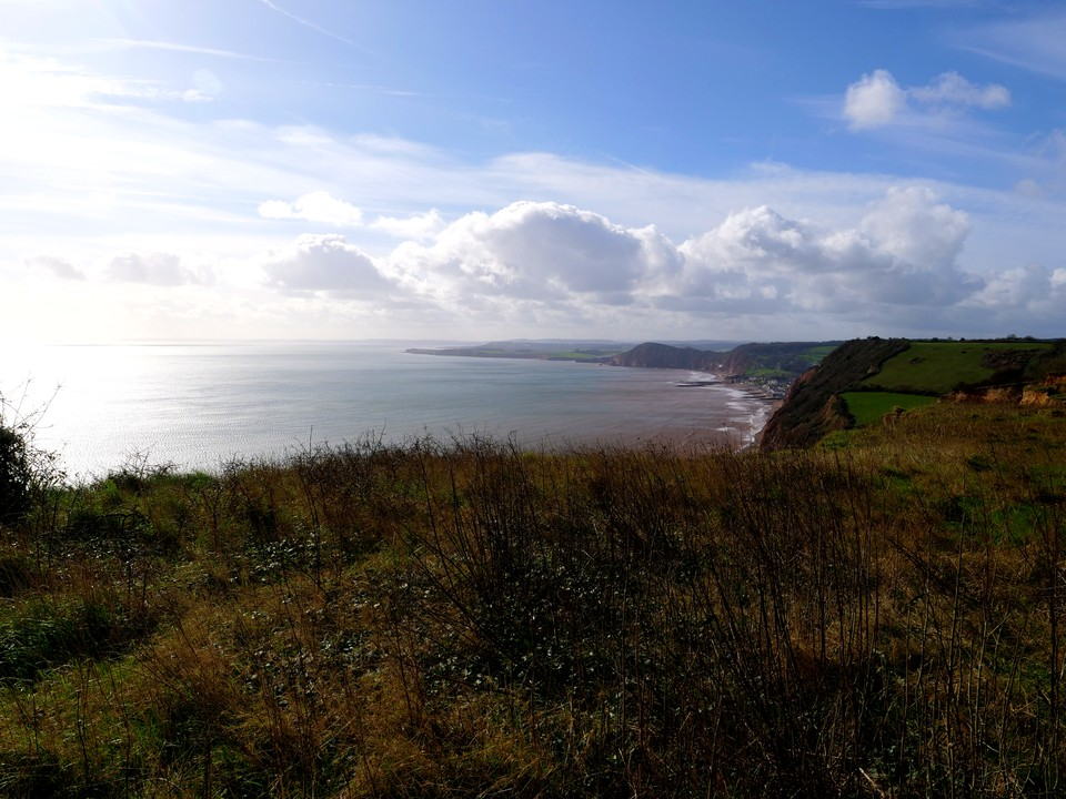The view from Higher Dunscombe Cliff, just before Salcombe Mouth looking west over Sidmouth