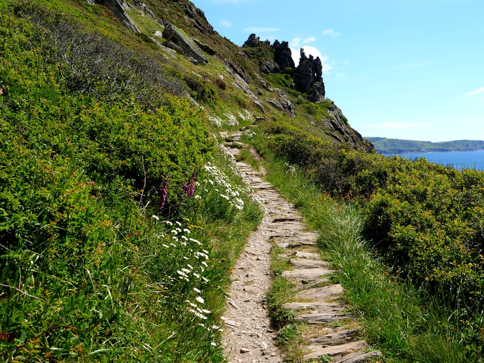 The path to the point below Sharp Tor