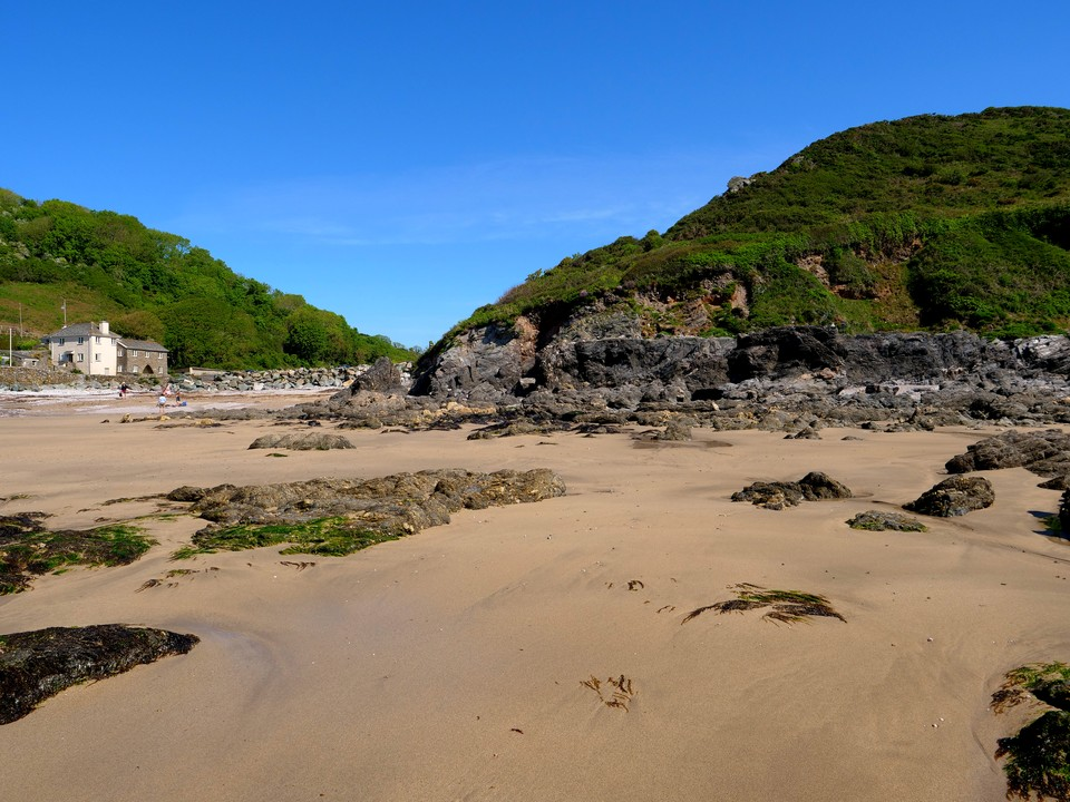 Lannacombe beach panorama. We now head back west along the coast path