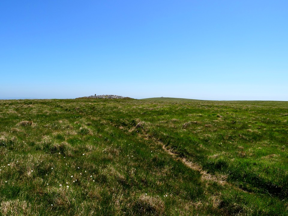 Our return paths follows the grassy track of the South Zeal Tramway, passing to the right of Western White Barrow