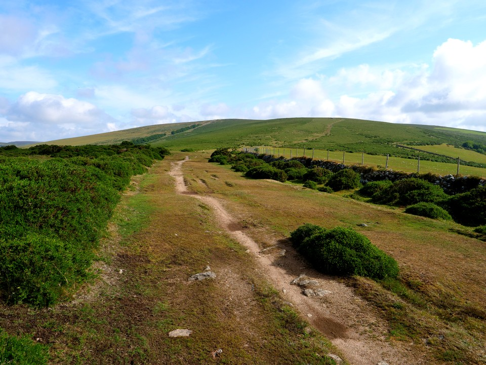 The path follows the ridge north towards Hameldown