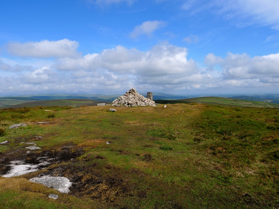 The cairn and trig point on Hameldown Tor