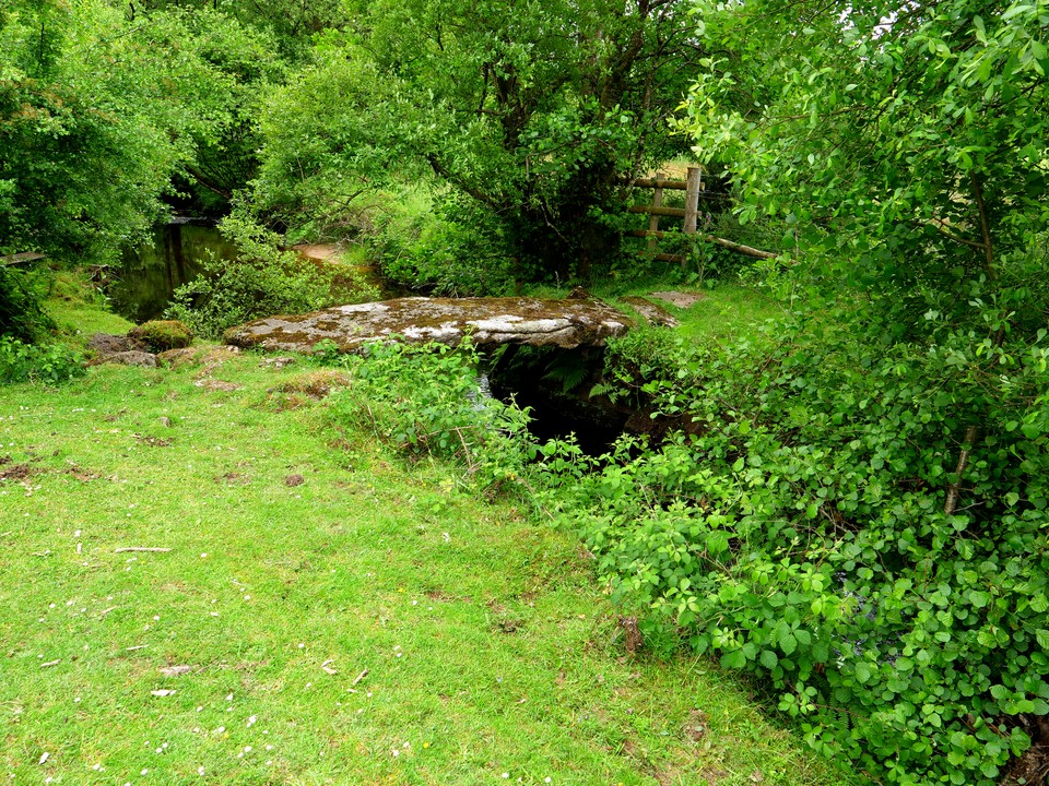 Follow the road south from Cator Common and turn left to go through Lower Cator and past this clapper bridge.