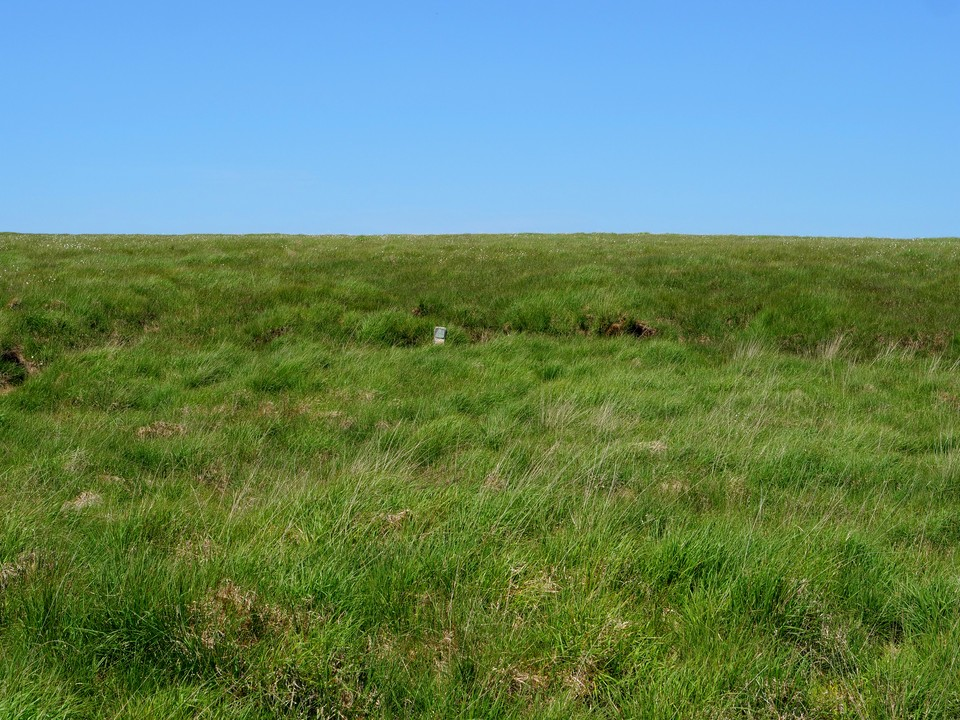 The post that marks the peat pass is small, and several metres from the path used at the moment