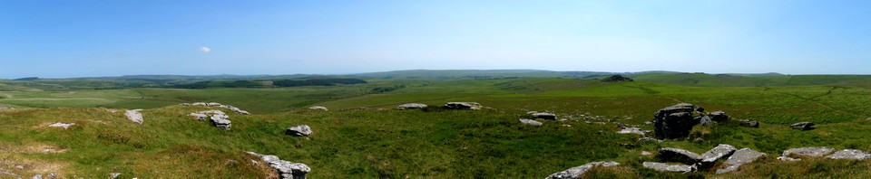 Panorama looking south from Higher White Tor. Head for Longaford Tor