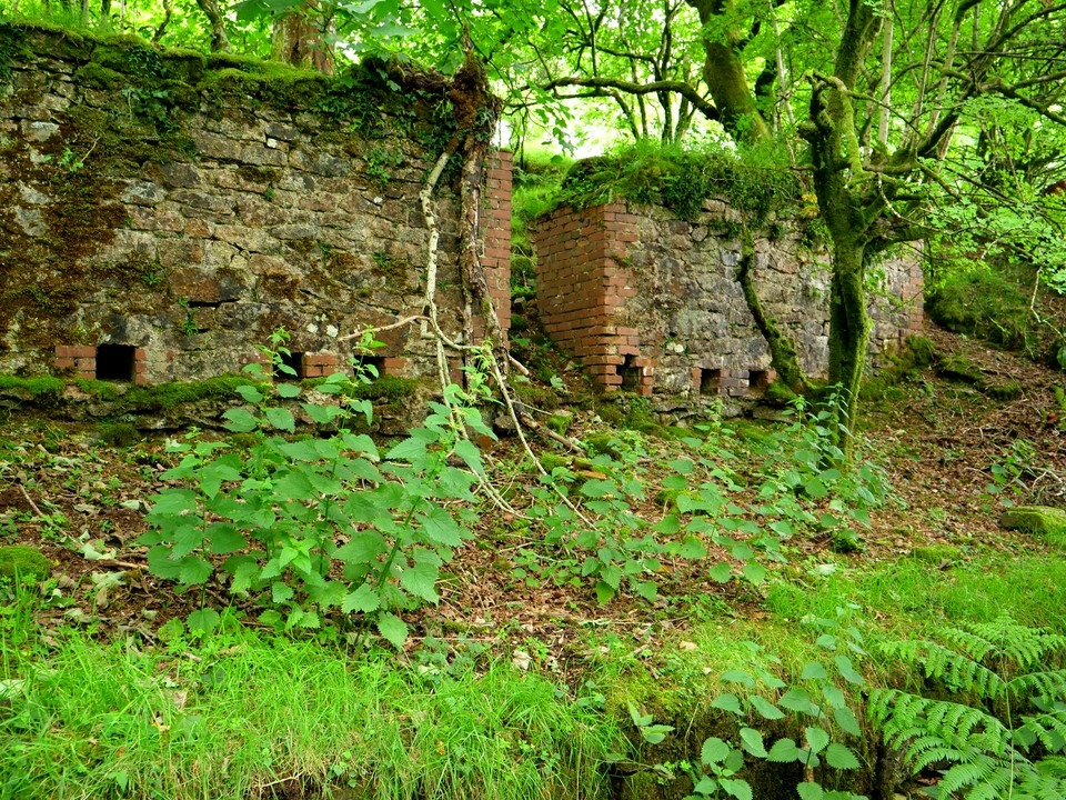 Old mine buildings at West Combe