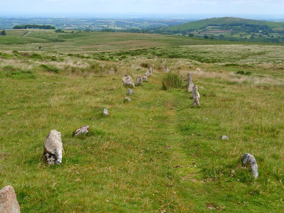 The double stone row on Hurston Ridge, Chagford Common