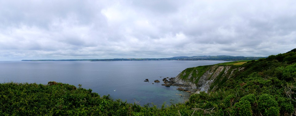 Panorama from Gribbin Head: Far left The Manacles and The Lizard, or is it  Black Head ? Dodman Point,  St Austel, and on this side of the bay, Little Gribbin