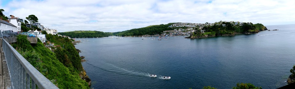 Panorama of Fowey Harbour, Polruan and the Blockhouse