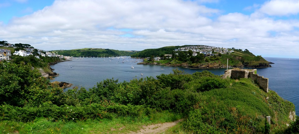 Fowey and St Catherine's Castle, with Polruan beyond
