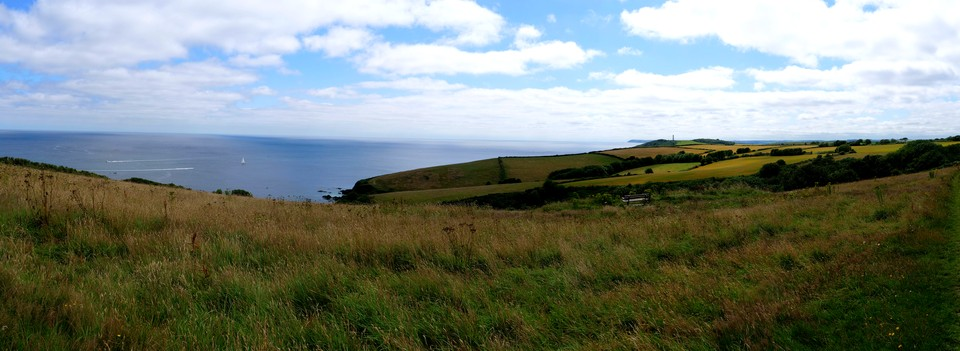 Panorama: Looking to Gribbin Head from Coombe Farm