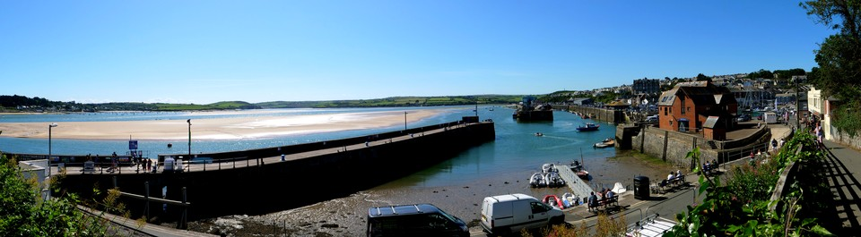 Padstow outer harbour and the Camel Estuary