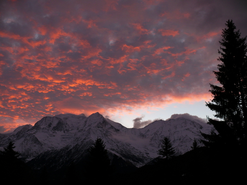 spectacular sunrise over Mt Blanc from Le Bettex St Gervais spectacular sunrise over Mt Blanc from Le Bettex St Gervais