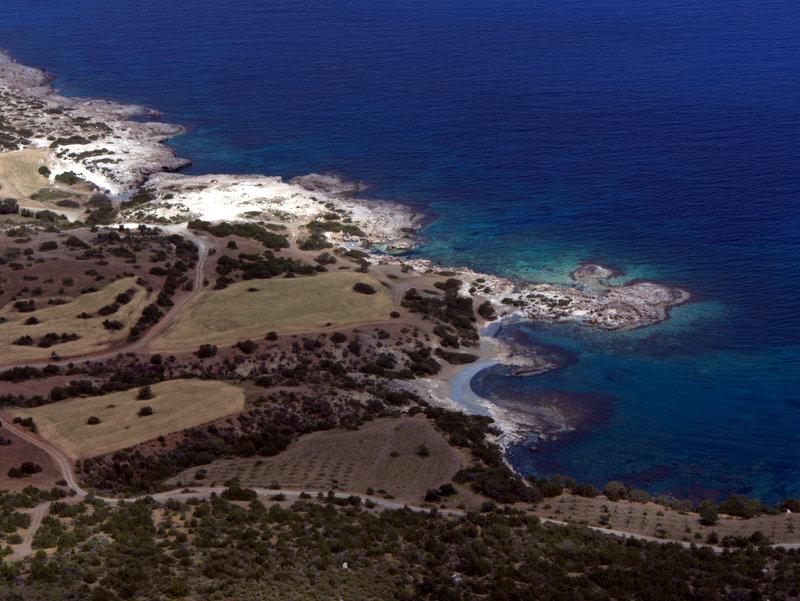 Looking down at the rocky bays, Akamas Peninsular Fontana Amoroza, Walking Cyprus.