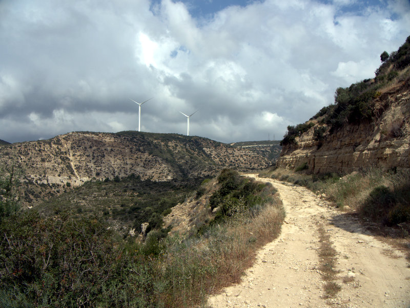 Windmills above the gorge, Alekhtora to Khapotami Gorge, Walking Cyprus.  Alekhtora Khapotami Gorge Kato Arkhimandrita 2010-04-30
